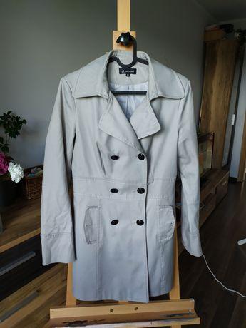 Płaszcz wiosenny bawełna 100% włoski w kolorze szarym naturalny skład