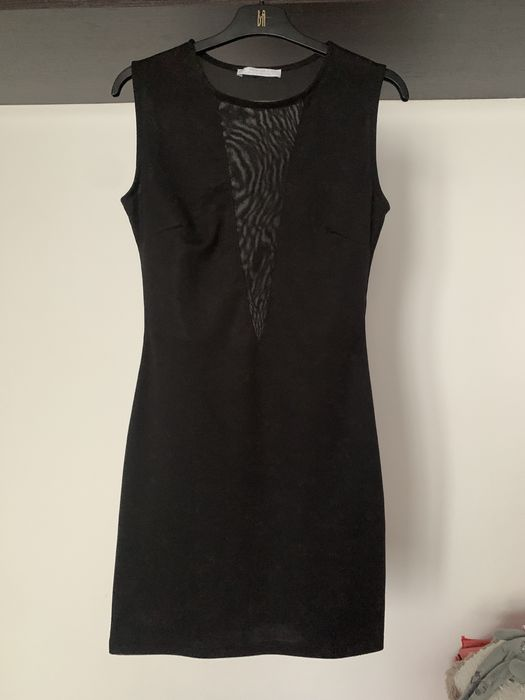 Czarna sukienka bershka mini mała czarna mgiełka z dekoltem w siatkę Katowice - image 1