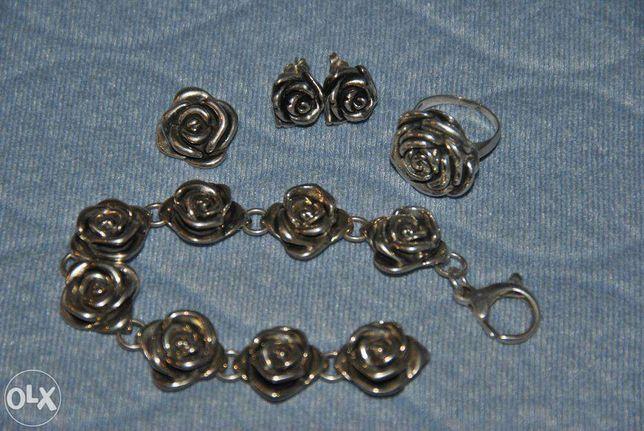 kolczyki, pierścionek, bransoleta, srebro