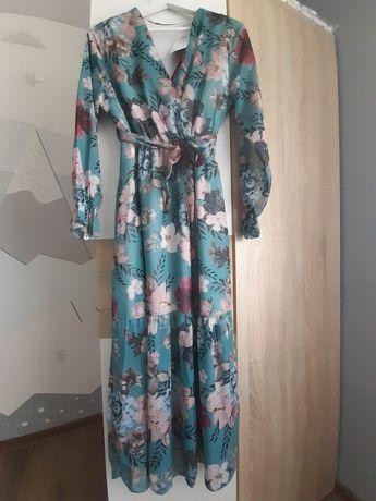 Długa sukienka w kwiaty rozmiar 38 paczkomat gratis