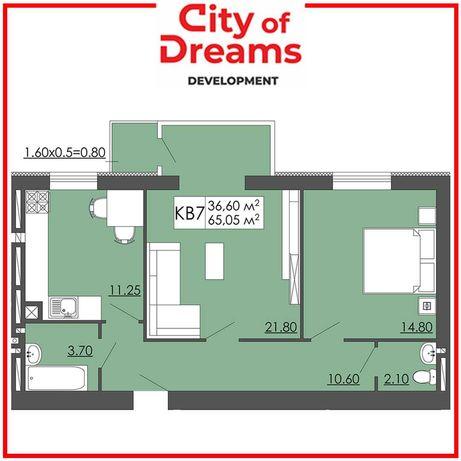 Двох кімнатна квартира 65,05м2, Малі Підліски.