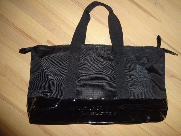 BURBERRY oryginalna bardzo duża pojemna czarna torba na zamek OKAZJA