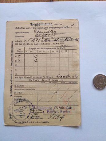 Dokument Niemiecki z drugiej wojny światowej. Oryginał.
