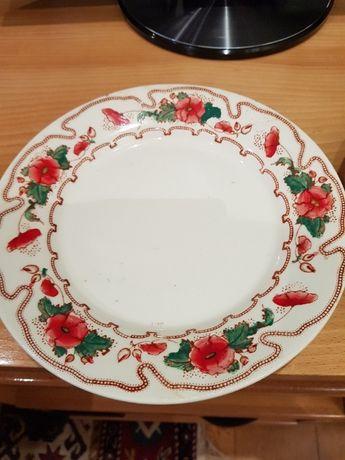 Par de pratos antigos Massarelos (papoilas vermelhas) - pintados à mão