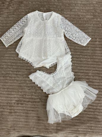 Нарядное Платье -боди красивое бодик с фатиновой юбкой 6-12 мес
