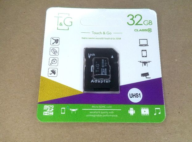 Карта памяти MicroSD 32GB Class 10 T&G +SD-адаптер флешка для телефона