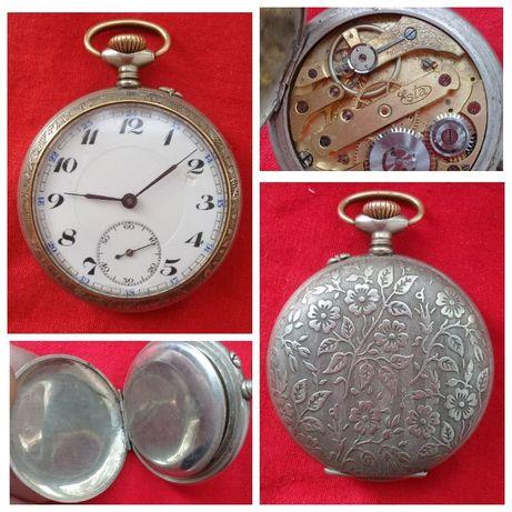 Старинные швейцарские часы Esta,1898г.,точный ход,посеребренные
