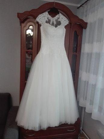 Suknia ślubna księżniczka Ivory M/38 + krótki welon + dodatki