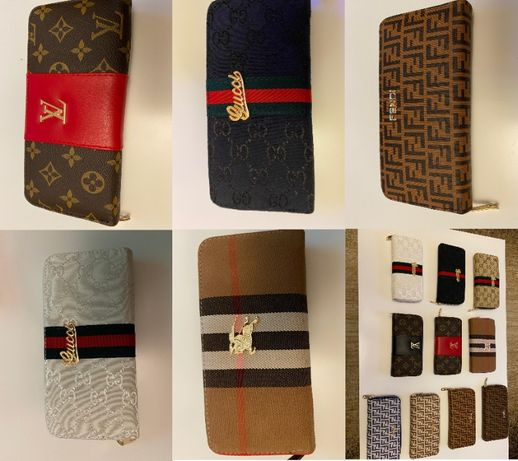 Portfele Damskie Gucci LV Louis Vuitton Fendi Burberry Monogram Premi