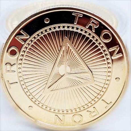 Сувенирные монеты TRON в золотом и серебряном цвете (биткоин, лайткоин