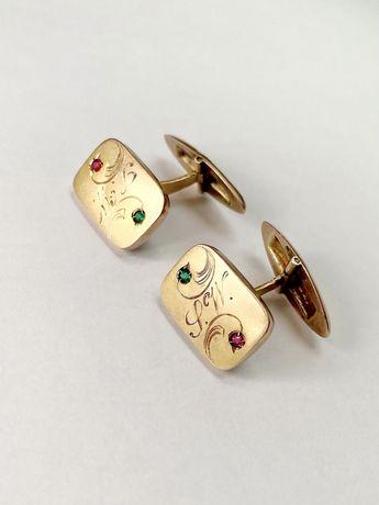 Stare złote spinki do mankietów z inicjałami szmaragdy i rubiny