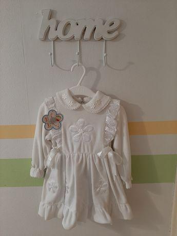 Sukienka biała NOWA welurowa z koronką 86/92 na chrzest