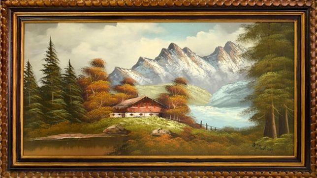 """Stary obraz olej """" Pejzarz Góry Tyrolu """" 91x51cm ładna drewniana rama"""