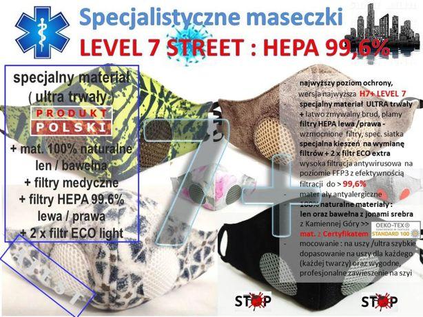 maska LEVEL 7 STREET poziom 7 Safety 2xAIR 99,6% HEPA