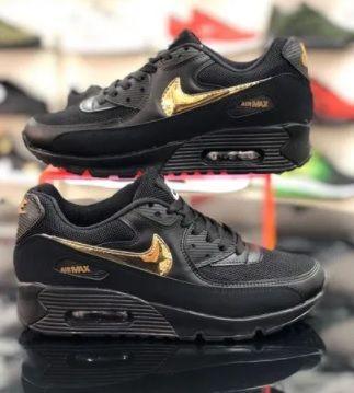 Nike Air Max 90. Czarne - złote. Rozmiar 36. PROMOCJA!