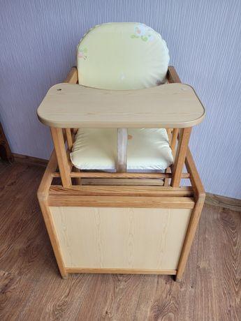 Krzesełko do karmienia drewniane solidne ze stoliczkiem. Polecam!