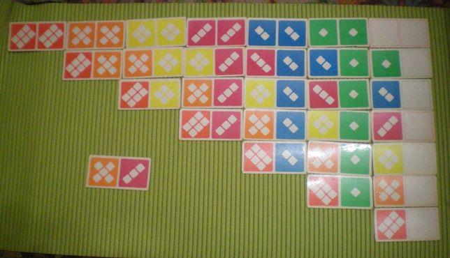 Домино картонное СССР детское карточное цветное настольная игра