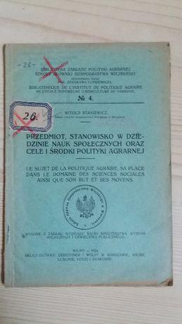 Przedmiot stanowisko w dziedzinie nauk społecznych W.Staniewicz 1924
