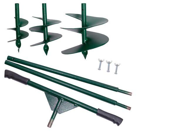 Бур садовый ШНЕК 3 насадки в комплекте, шнековая конструкция