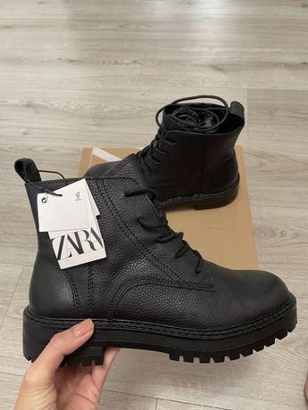 Кожаные ботинки Zara женские, размер 39