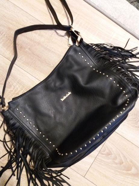 Nowa pojemna torebka czarna z frędzlami