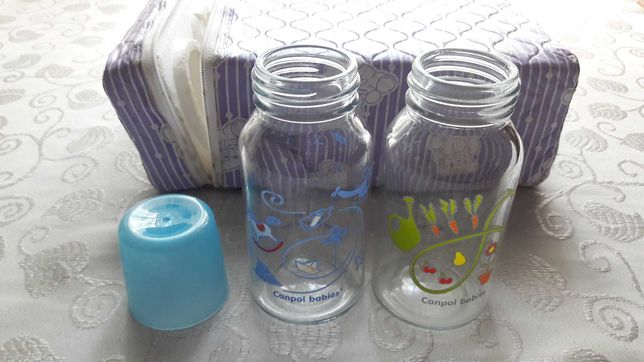 Бутылочка для кормления стеклянные 120 мл с рисунком Canpol babies.