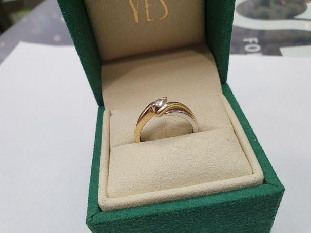 YES! Piękny złoty pierścionek/ Brylant 0.2 CT/ Certyfikat/ Paragon R14