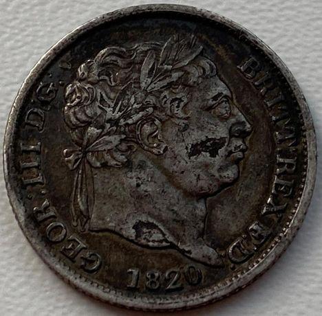 Англия 1 шиллинг 1820 год Серебро! СОСТОЯНИЕ!!!