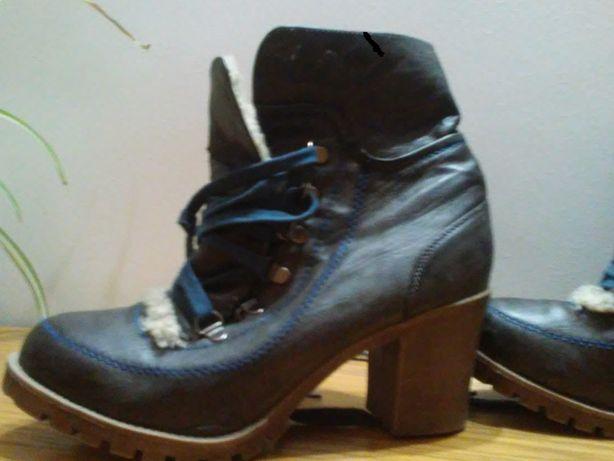 buty/botki- kozaczki zimowe z kożuszkiem, gruba podeszwa roz. 39