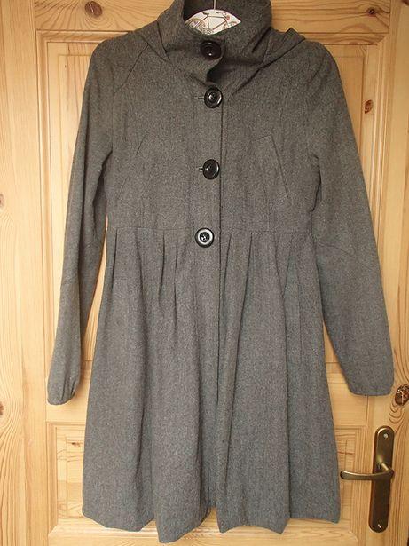 płaszcz ASOS jesienny S XS z kapturem 40% wełny