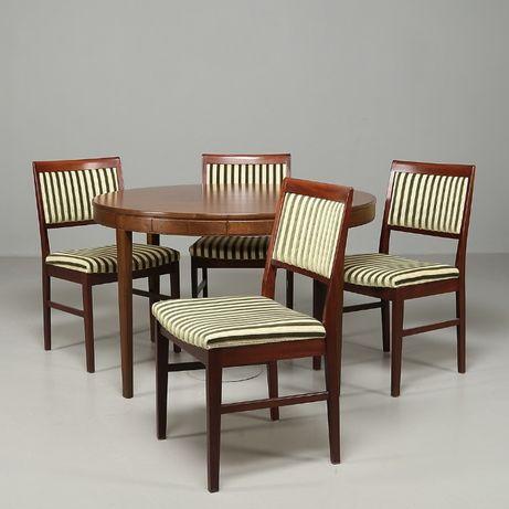 Stół i cztery krzesła lata 60 XXw Piękny skandynawski