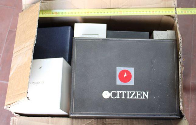 Grande lote caixas estojos relógios Ebel Longines Zodiac Citizen Seiko