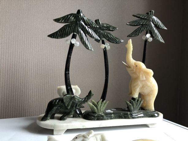 Натуральный камень статуя слон мандарин