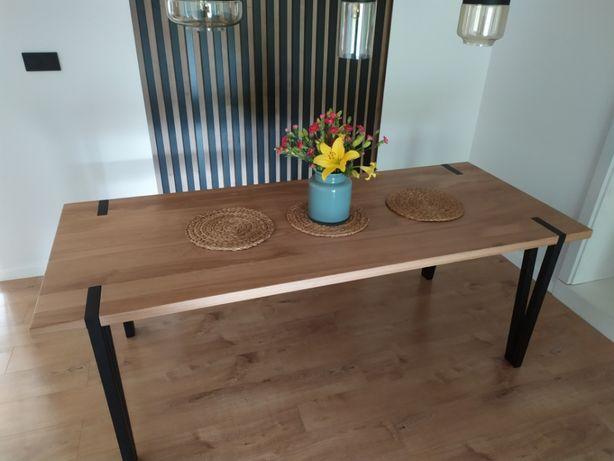 Stół dębowy industrialny loftowy na metalowych nogach