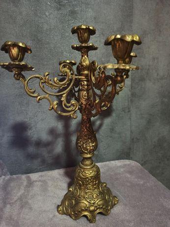 Бронзовый старинный подсвечник на 5 свечей