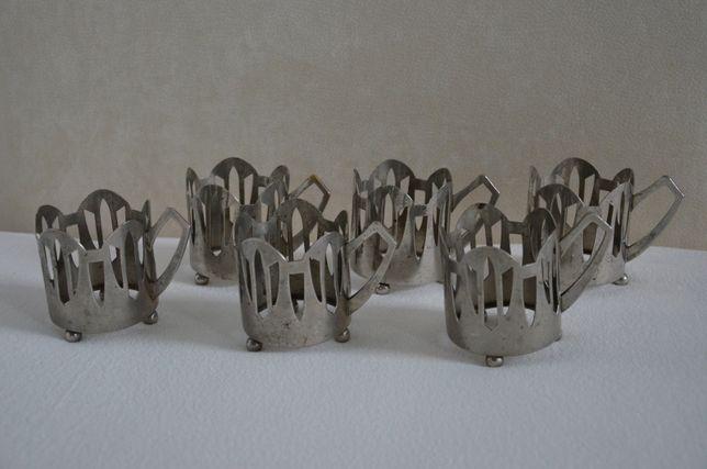 Stare koszyki uchwyty metalowe (chyba posrebrzane ) do szklanek antyki