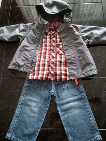 Kurtka Domyos , jeansy Disney , koszula w krate next r. 74/80