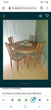mesa extensivel com cadeiras
