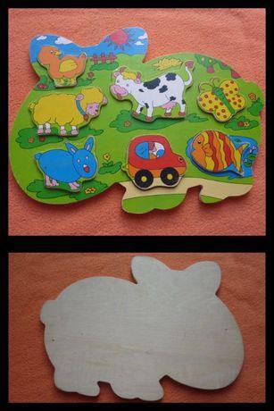 ZAPRASZAM Zabawka 7 sztuk drewniane puzzle ZWIERZĄTKA