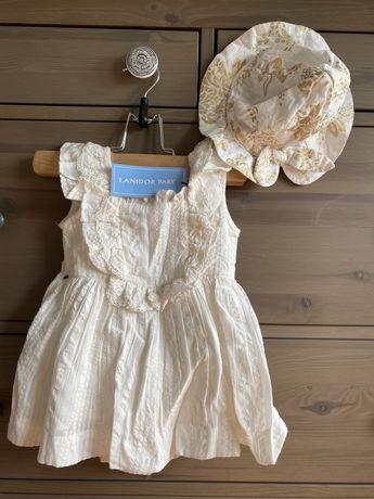Vestido e chapéu bebé menina Lanidor Baby (12m) NOVOS