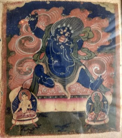 Tybetańska tanka miniaturowa Vajrapāṇi. 19 wiek