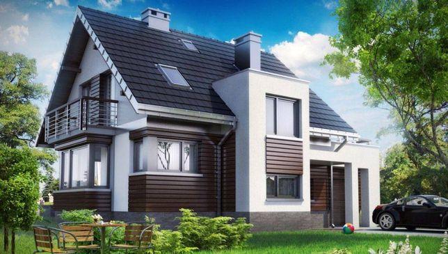 Проект - Одноэтажный дом, с мансардным этажом, с гаражом