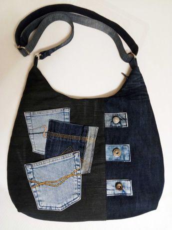 Torebka torba jeansowa dżinsowa rękodzieło handmade upcykling