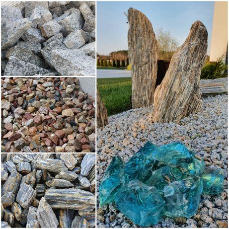 Kamienie ozdobne Grys Biały Granit Bazalt Kora kamienna TRANSPORT