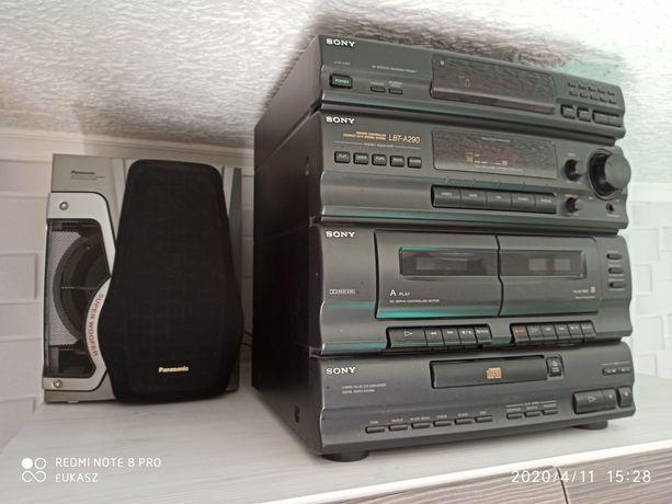 Wieża Sony + solidne kolumny 2 x 80 wat, Panasonic, 4-drożne, subwofer