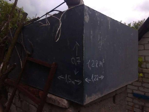 Алюминиевый бак (ёмкость) для воды, летнего душа 1,5х1,22х0,4 м