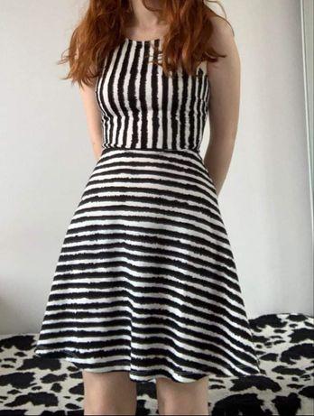 Sukienka w biało-czarne pasy H&M rozm. XS