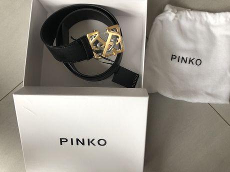 Skórzany pasek Pinko z logo Sonaglio double P buckle, nowa kolekcja