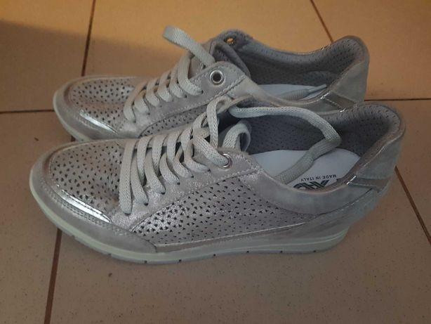 Sneakersy damskie srebrne rozm. 38 skórzane