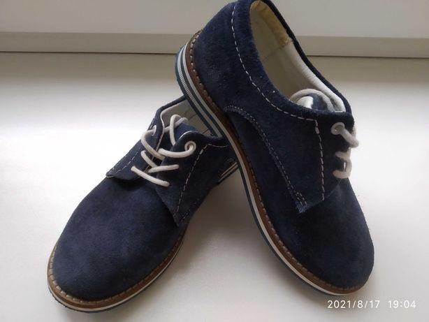 Стильні туфлі хлопчику натуральний замш, туфли на мальчика, замш р. 28